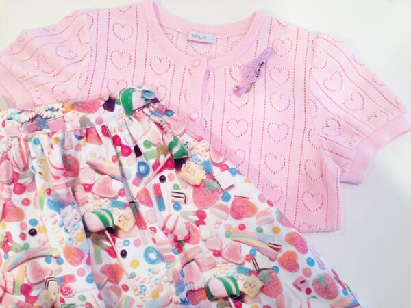 from PRESS ROOM♡ 4月に入荷するオリジナルのCANDY総柄スカートと、♡の半袖カーディガン、音符のバレッタが、スタイリストさんのピックアップ率高めです♪♪♪