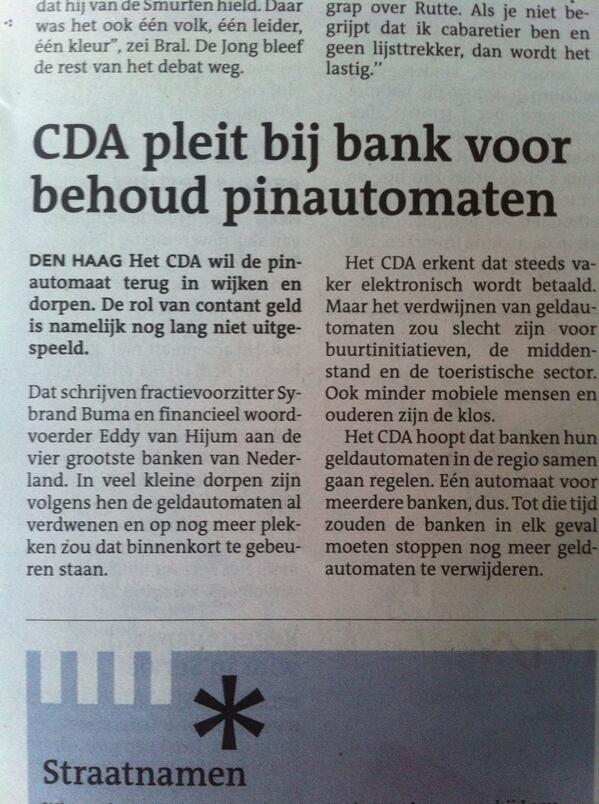 #CDA pleit bij bank voor behoud pinautomaten in wijken en dorpen http://t.co/1Gqu92Wdu8