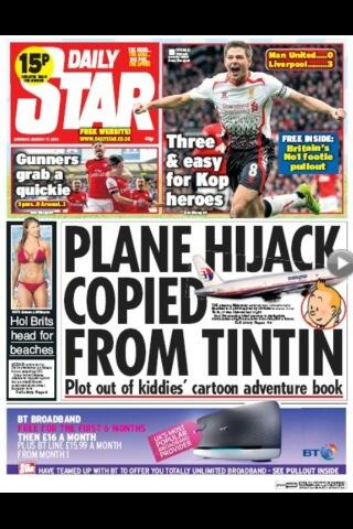 I think this might be my all-time favourite Daily Star headline. #MH370 #Tintin http://t.co/Zaib4FKeU8