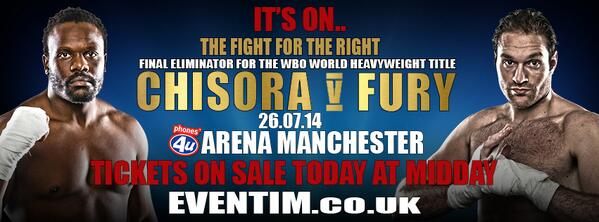 That's right..as announced just now on Talksport.. IT'S ON!! @dellboychisora v @Tyson_Fury Manchester Arena 26.07.14 http://t.co/kCXm9RcgIt