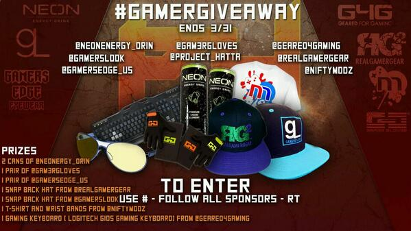 Here it is My #GamerGiveaway, 1 winner takes all. Must follow everyone listed and RT the flyer with HashTag. http://t.co/49OrMjSjL5