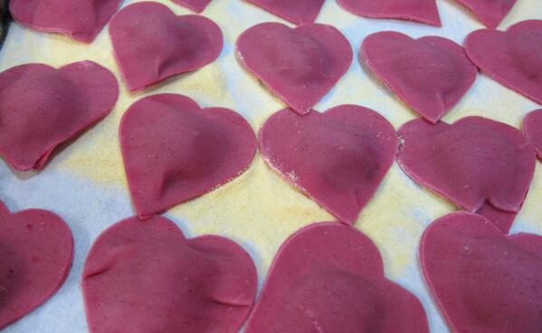 I die! RT @GianfrancoMinuz Cooking with love. Heart-shaped beet ravioli. #beets #vegetarian #food #Italian #cooking http://t.co/0wJNg4EzJ0