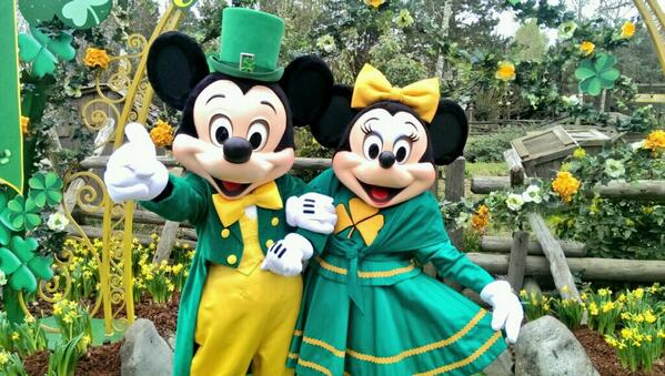 Mickey and Minnie Mouse wish you all a Happy St. Patrick's Day from Disneyland Paris