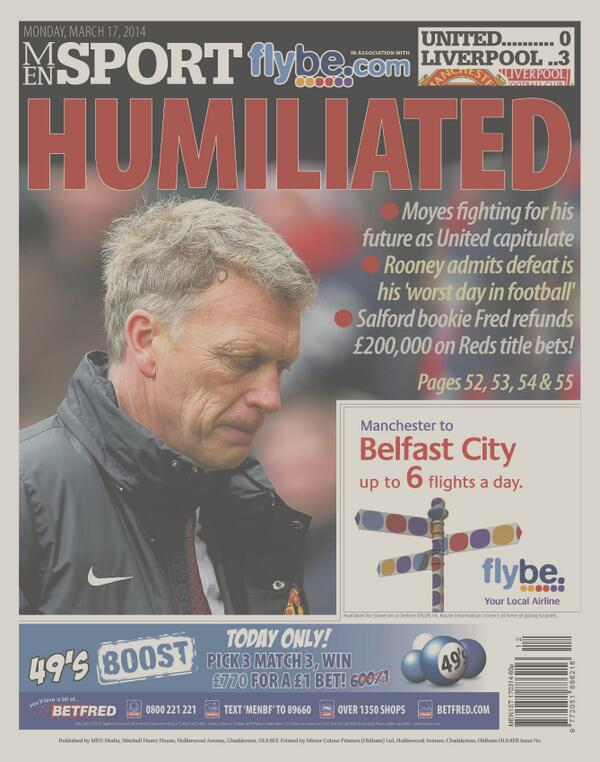 Humiliated David Moyes is fighting for his future to remain Manchester United boss [M.E.N]