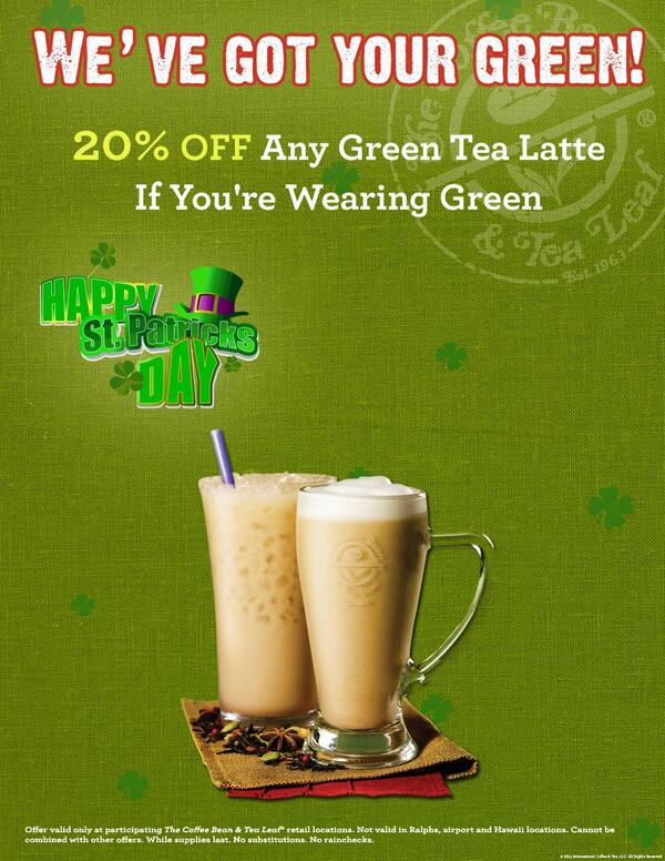 We are giving you 20% off any green tea latte if you're wearing green today. Happy St. Patrick's Day! #cbtlny http://t.co/7z9W7lJ8AN