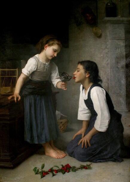 「ついばみ」制作年不明エリザベス・ジェーン・ガードナーElizabeth Jane Gardner Bouguereau, La Becquée