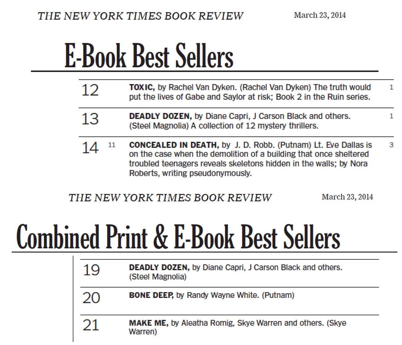 http://thetwelvexii.com/2014/03/deadly-dozen-hits-new-york-times-bestseller-list/