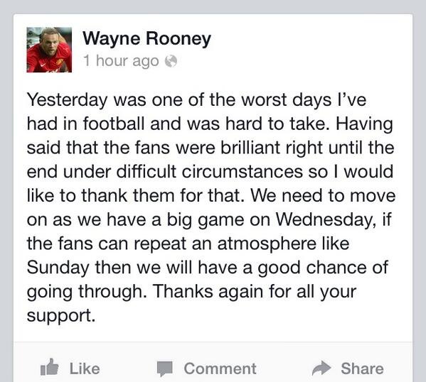 Man United star Wayne Rooney thanks fans for their support on Facebook after defeat by Liverpool