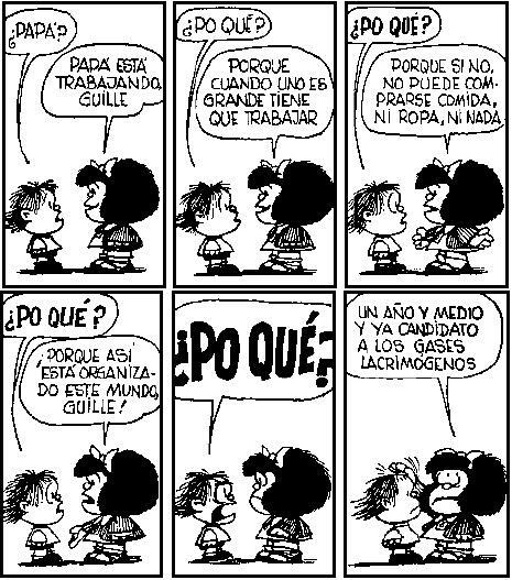 Resultado de imagen para mafalda un año ymedio y ya es candidato a los gases lagrimogenos