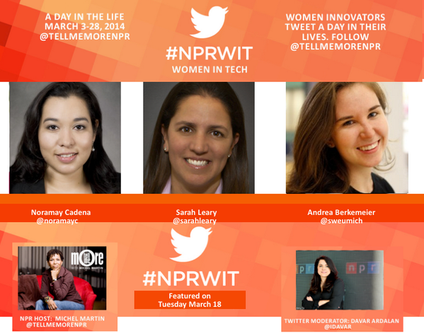Thanks for joining us today @AmandaSpann & @momack28 and sharing your insight with us. Tune in again tomorrow #NPRWIT http://t.co/wBlirYCbDy
