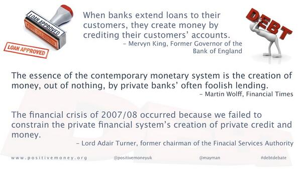 #debtdebate Banks create 97% of money from nothing - as debt - 77% for property and investors, just 13% for business. http://t.co/oY7wilGIRr