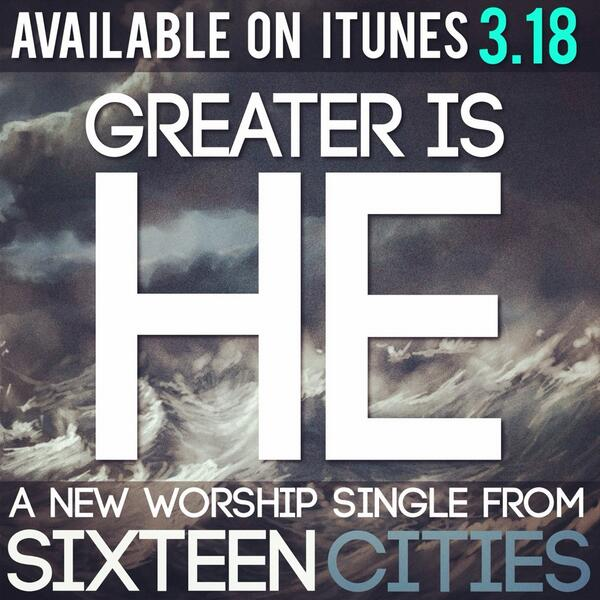 "Our new worship single ""Greater Is He"" releases tomorrow on iTunes! Retweet and spread the word! http://t.co/brS1i6luBX"