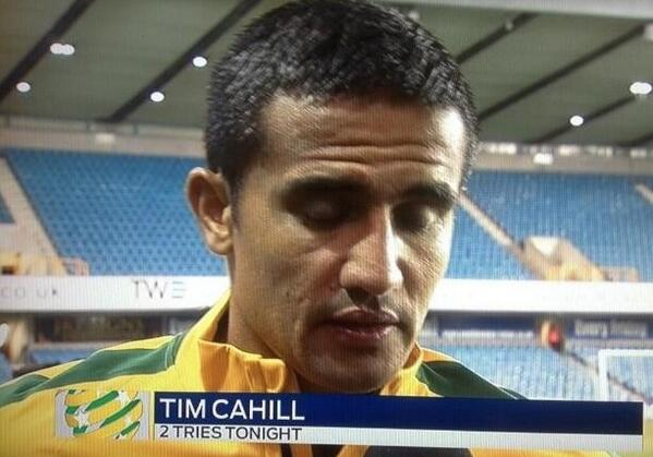Australian TV bungle their screen caption after Tim Cahill becomes the Socceroos all time leading scorer