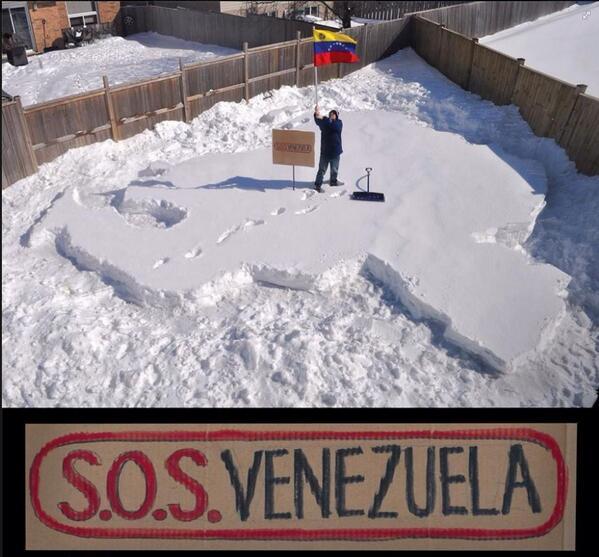 Bravo! Venezolanos q en la distancia llevan a su patria en su corazón y alzan su voz de protesta! a -30°C http://t.co/8kxGNb5lLf...
