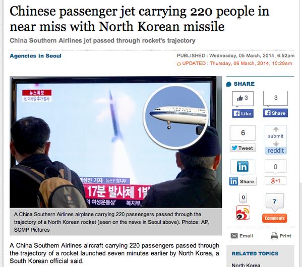 ความบ้าระห่าของเกาหลีเหนือ ทอสอบยิงขีปนาวุธไม่บอกใคร เกือบชนไชน่าร์แแอร์ไลน์ที่มีผู้โดยสาร 220 คน SCMP รายงาน http://t.co/Dt6zIANdls