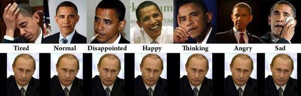 Obama vs. Putin.  Old Russian spy school never fails: never show emotions. http://t.co/QDvDIez4kR