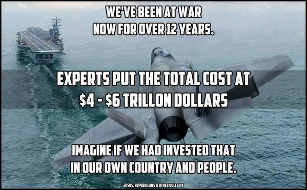 What could have $4-6trillion accomplished at home instead of for wars abroad? via @haldonahue #p2 #inequality http://t.co/2bj4AsL9OL