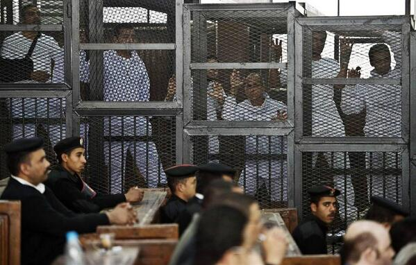 If you missed it - this is how Egypt treats journalists doing their job.  Journalism is not a crime #FreeAJStaff http://t.co/JlfvXQVvp5