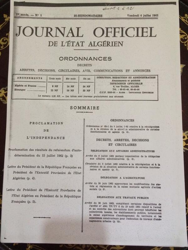 Voici le premier journal après l'indépendance de l' #Algerie #algerie2014 #TeamDZ #TeamAlgerie #ArchiveShelfie http://t.co/Atdha9X6GB
