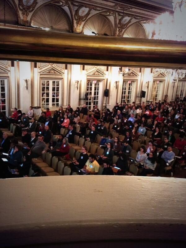 My view of #dml2014 conference attendees from balcony. Stately ballroom, awesome bunch of people! http://t.co/u8ZEdbpNBI