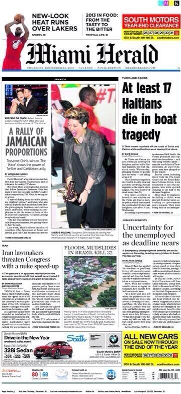 #NPRWIT @TellMeMoreNPR @doGOODJamaica here is article. Made front page of @MiamiHerald http://t.co/0c20TsK2QE http://t.co/DkzwN5UD6N