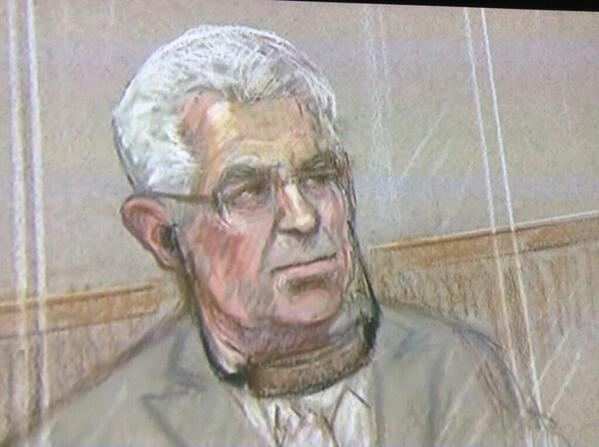 According to Max Clifford's courtroom sketch he has suspended a Mars Bar from his ears with a shoelace. http://t.co/rMWQjWTLYO