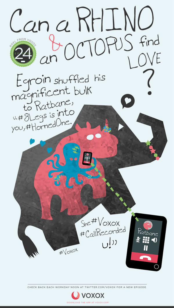 """#ROFL - Egroin shuffled his magnificent bulk to Ratbane, """"#8Legs is into you, #HornedOne. She #Voxox #CallRecorded u! http://t.co/gE5fLz8NJt"""