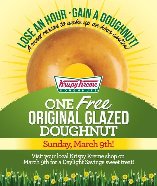 Lose an hour, #GainADoughnut. Thx for the #free donut, @KrispyKreme! Thx for the heads-up, @Daw_son! #daylightsavings http://t.co/6BWbegiz8O