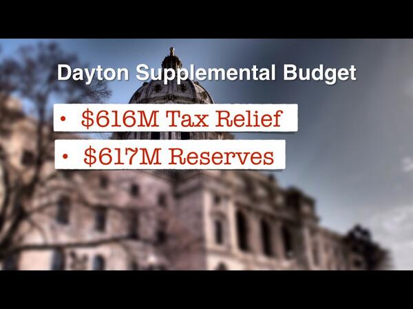 Gov Dayton's supplemental budget offers $113M more in tax relief than the House plan.  Wants more $ to reserves. http://t.co/NpMjt8VGoB