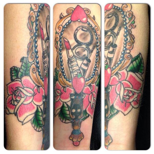 Modznrockers On Twitter Vintage Cover Up Tattoo Tattoos Coverup Vintage Mirror Rose Lipstick Freehand Custom Http T Co Uf91stfoss