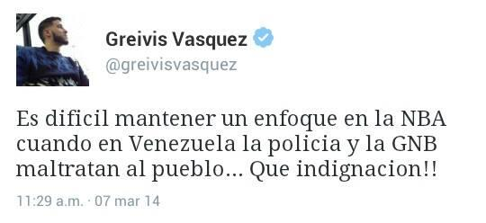 """RT @anatelorza: ""@LibertaParaVZLA EsteTuit del jugador de Básquet NBA Greivis Vásquez estremece las redes. http://t.co/lYYGeodqGP"""""