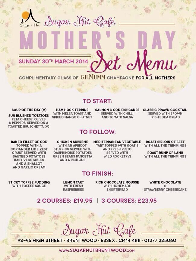 RT @sugarhut: Have you thought about Mothers Day yet?? If not then why not book a table in the @SugarHutCafe http://t.co/6Xvp81gqIY