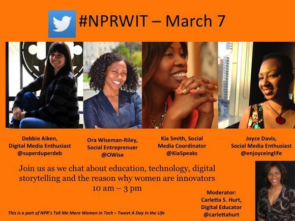 Today @Carlettahurt will be sharing Qs from @StartUpMiddle & interviewing #STEM leaders around the #NPRWIT hashtag. http://t.co/QMi4ZJcnvI