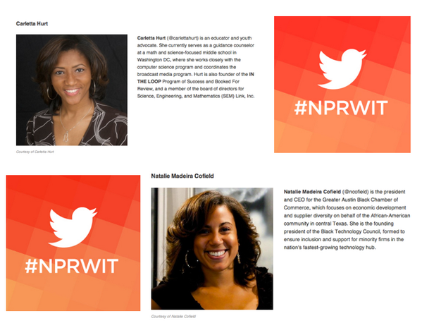 Thumbnail for #NPRWIT March 7: Carletta Hurt, Natalie Madeira Cofield, & More