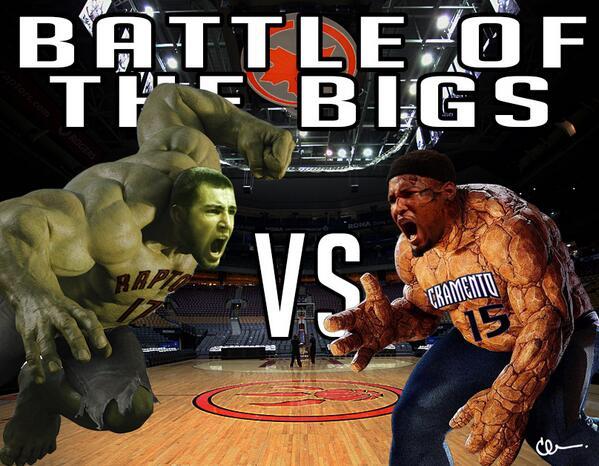 Battle of the bigs tonight! and I got my money on @JValanciunas! #RTZ #RAPTORS  #marvel @boogiecousins http://t.co/z65Sfe45vr
