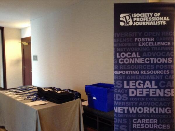 Registration is now open for #SPJScripps. Participants, come get your goodies outside the Brookside ballroom. http://t.co/ekNF0CfFeQ