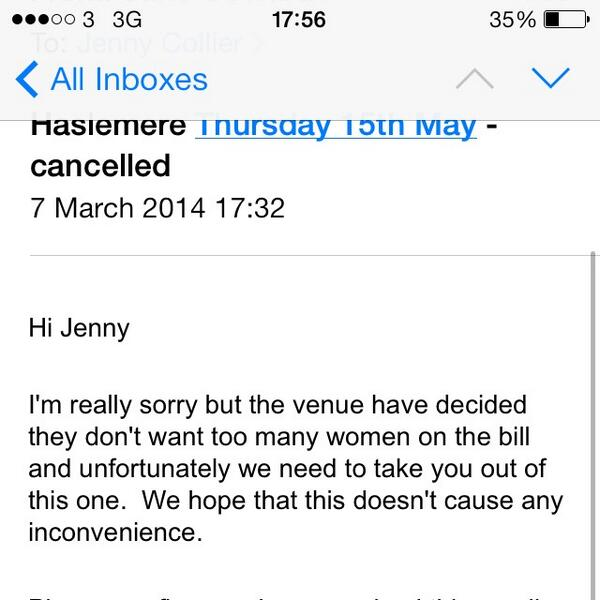 Utterly shocking. Name and shame venue! RT @Jenjencollier: This just happened. http://t.co/xnQmuQvrNT