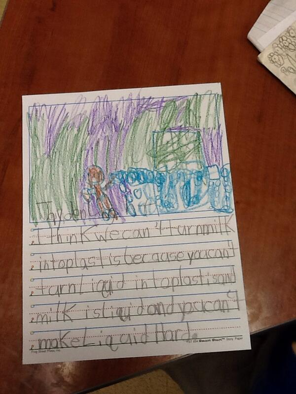 Do first graders think they can turn milk into plastic? #iTDML#DLMOOC#walkmyworld http://t.co/BuH0hX5Xi0