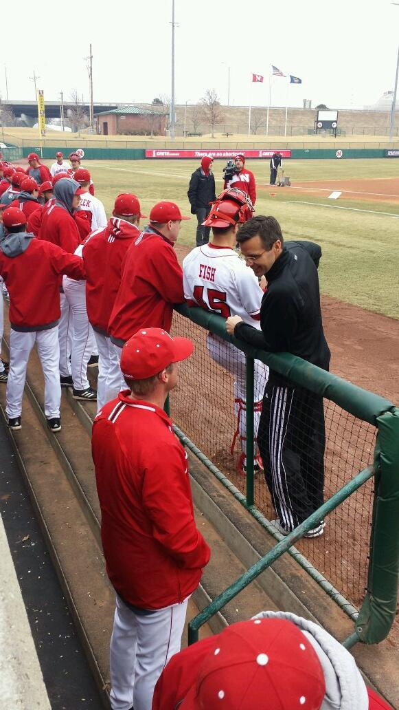 #Huskers hoops coach Tim Miles on hand at Haymarket Park today to throw the ceremonial 1st pitch http://t.co/sq7Udsbx81