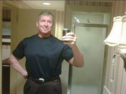 VINCE MCMAHON TOOK A SELFIE. DO NOT BE ALARMED. http://t.co/Io8j3ahhLg