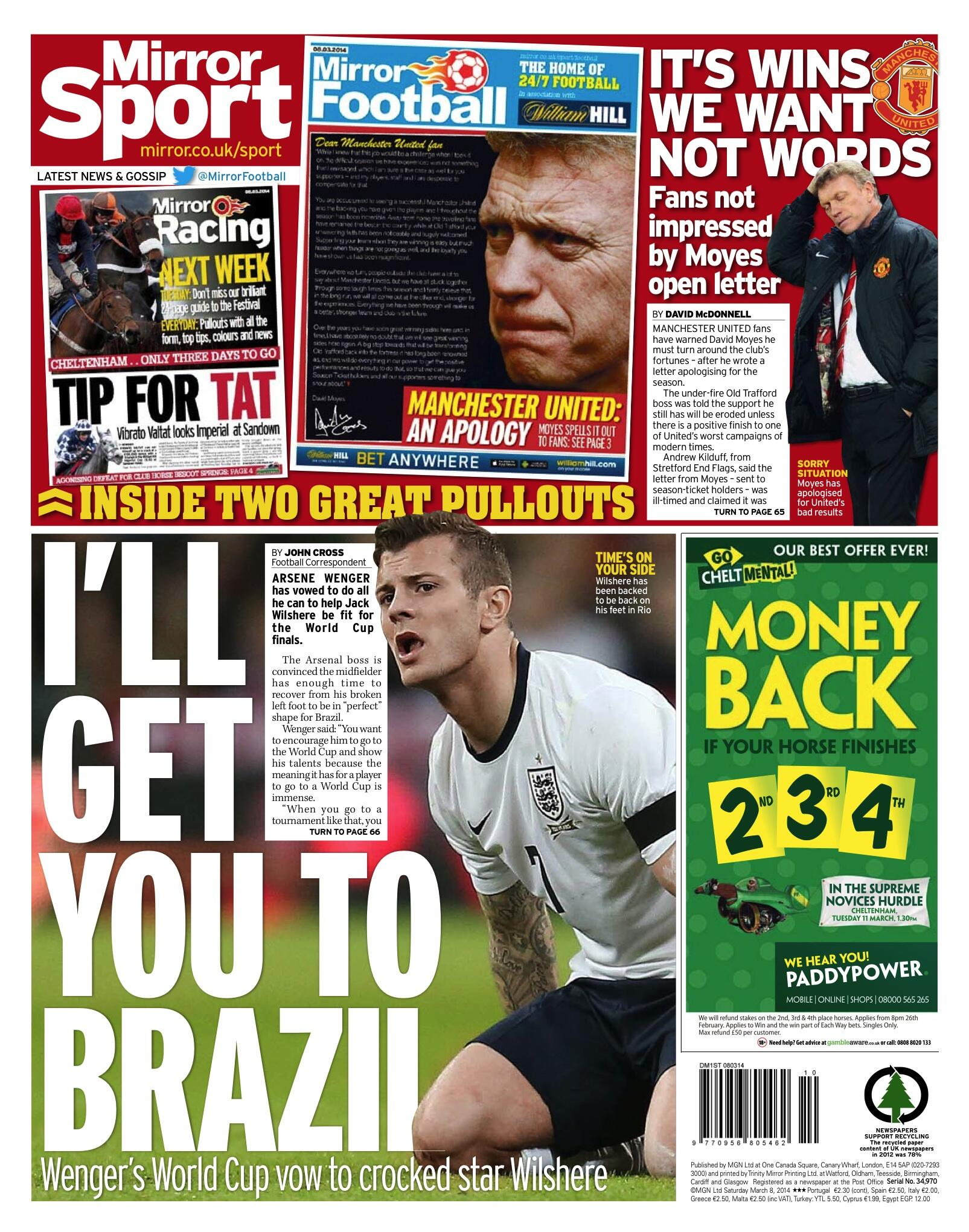 RT @DailyMirror: Saturday's @MirrorSport back page: Wenger's vow to Wilshere: 'I'll get you to Brazil' http://t.co/msjI13Ykw8 http://t.co/6…