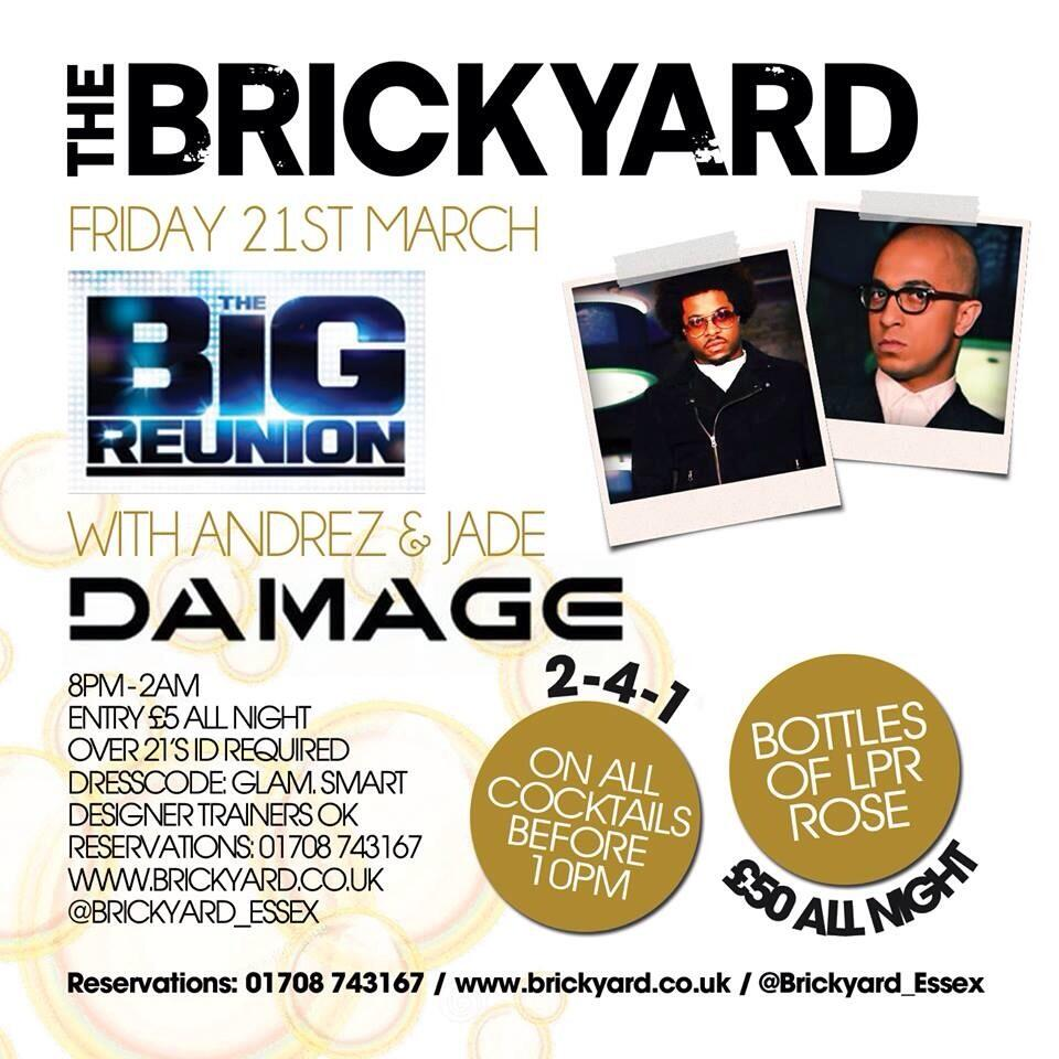 RT @Brickyard_Essex: Damage duo Jade Jones & Andrez Harriott Live PA @Brickyard_Essex Friday 21st March  #BYD http://t.co/171zzihI1I