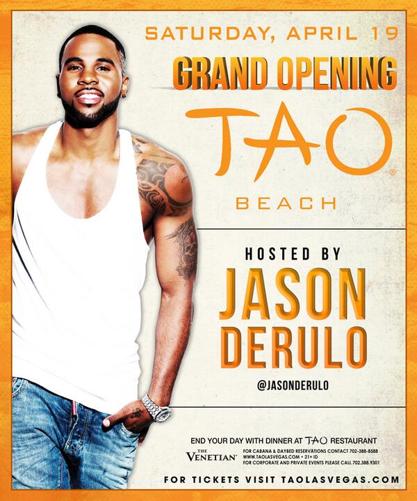 Summer starts early in Vegas. TAO Beach Grand Opening with @jasonderulo - APRIL 19th!  http://t.co/MEj8deTpLX http://t.co/nIa15rMs8H