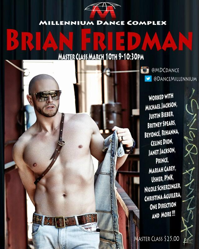 RT @Go2TalentAgency: @brianfriedman is teaching a Master Class this Monday March 10th, 9:00 to 10:30pm at @DanceMillennium ! http://t.co/Iy…