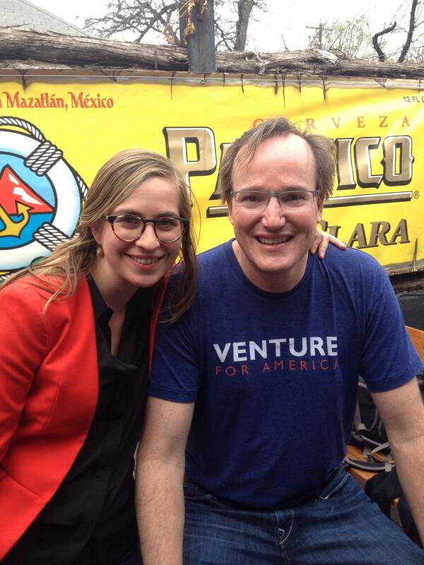 Ran into chip hazard representing @venture4america at the @twilio #sxsw party! http://t.co/DDBvZgPZfH