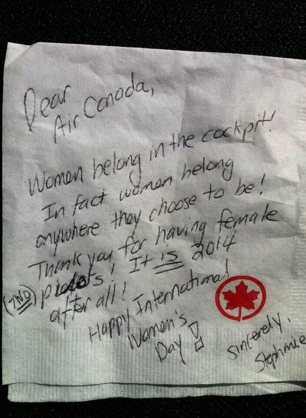 Check out what my friend got today on her flight, she's a pilot with Air Canada. Thank you whoever you are! http://t.co/MrniMw4p2O