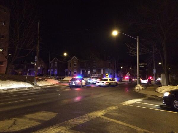 Police block Herkimer at Queen on March 7 after a vehicle collided with a pedestrian (Image Credit: Andrew Spearin)