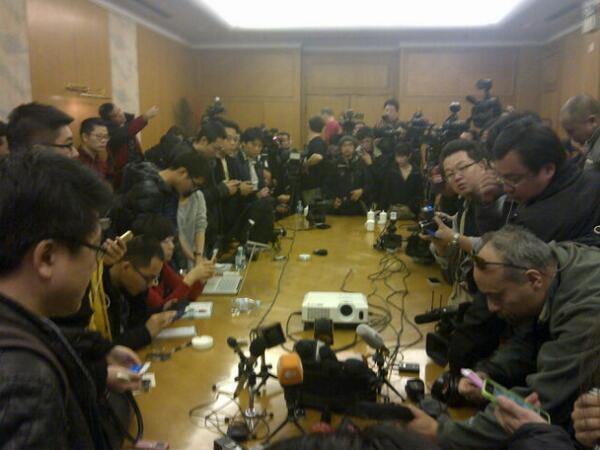 Reporters wait for word of #Malaysia Airline flight at presser in Beijing. http://t.co/AEekXY9jnY