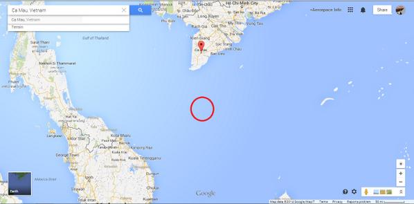 mas o menos por aqui esta el avion desaparecido http://t.co/YX8mCOM0fL  de Malasya airlines