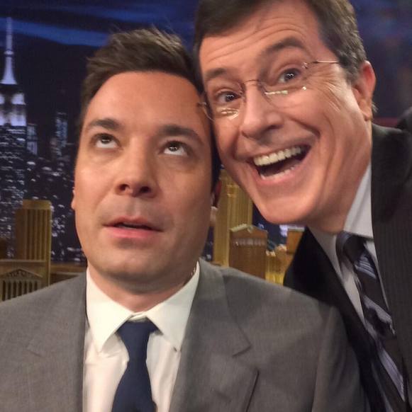 RT @FallonTonight: .@StephenAtHome's selfie with @jimmyfallon from $100 bet #FallonTonight http://t.co/In3iCRTrCh